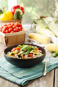 Grilled-Summer-Vegetable-Pasta-Simply-Gluten-Free Ingredients: GF rice fettuccini, olive oile, bell peppers, corn, zucchini, tomatoes, basil,