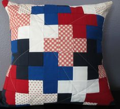 I made a trio of red white and blue patriotic pillows this year. This was is the Red white and blue plus pillow sham. Modern straight line quilting. Kona solids in rich red, royal blue, navy and white were combined with several Moda prints. I can't decide if this one or the hexi is my favorite...