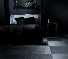 Amtico-Back to Black Collection- Color Indulgence.  Thickness: 2.0 mm.   Material: Vinyl.  Comes in various sizes.  Has a bevelled edge.  ADA complaint.