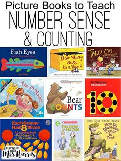 Number Sense picture books for teaching primary students about numbers and counting. Number Sense Kindergarten, Kindergarten Books, Preschool Books, Preschool Math, Math Classroom, Fun Math, Math Games, Easy Math, Classroom Design