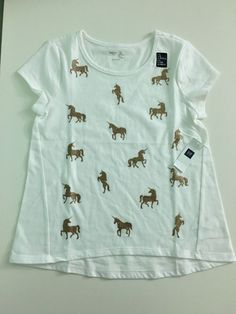 NWT Gap Girl's Short Sleeve Off White Animal Print Summer Top Tee size L  #GapKids #Everyday