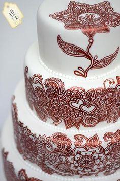 henna+tattoo+cake | Mehndi / Henna Tattoo Wedding Cake by Bite... | Cake Decorating Ideas