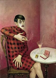 Portrait of Sylvia von Harden by Otto Dix, 1926. I got a print of this in Germany. I used to have it hanging on my office door. Scared the daylights out of the undergrads.