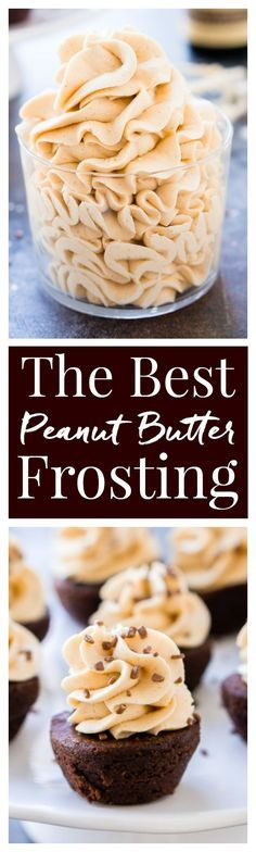 This is The Best Peanut Butter Frosting Recipe you're going to find. It's sweet, creamy, peanut buttery PERFECTION! Put it on cake, sandwich it between cookies, or lick it right off the beaters! via @ (Baking Desserts Peanut Butter) Cupcake Recipes, Baking Recipes, Cupcake Cakes, Dessert Recipes, Bundt Cakes, Brownie Desserts, Just Desserts, Delicious Desserts, Chocolate Cheesecake