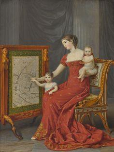 Auguste Amalie de Beauharnais with her daughters Josephine and Eugenie by Andrea Appiani, 1808-09.