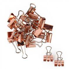 Rose gold binder clips - pack of 24