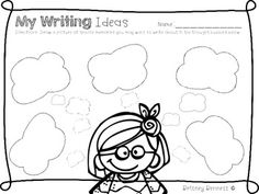 While launching writing workshop, students draw memories in the large thought bubbles and keep the paper in their writing folders to have generated writing topics. Writing Topics, Teaching Writing, Writing Activities, Writing Ideas, Teaching Ideas, First Grade Writing, 2nd Grade Reading, Writing Folders, Stuff For Free