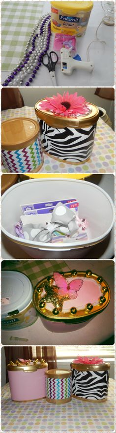 Why throw formula containers away?  They make great little storage boxes! A few glue sticks, beads etc...Use your imagination. I made Alani some to keep her bows in:))