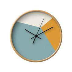 Krickente Wanduhr Uhr geometrische Wand Housewarming Geschenk geometrische Uhr blaugrün und orange Wanduhr Mitte Mitte Jahrhundert Uhr Wanduhr