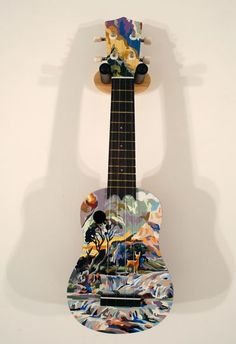 Decorated in paint-by-number style Guitar Painting, Guitar Art, Painted Ukulele, Painted Guitars, Paint By Number, Pyrography, Custom Paint, Decoupage, Numbers