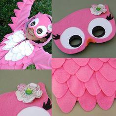 mädchen faschingskostüm rosa eule maske selber machen