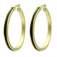 Leather Hoops-Modern hoops in 14K satin gold plating inlaid with rich black leather. $40 www.jillzarinjewelry.com