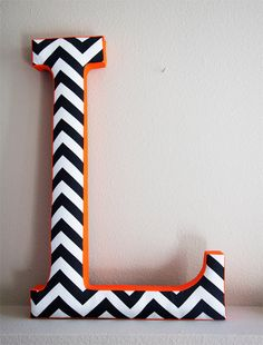 Fabric Letter L - Chevron Patterns - 24 inches - Available A-Z. $52.00, via Etsy.
