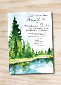 Pine Tree Wedding Invitations Place Cards Ideas For 2019 Invitation Card Design, Invitation Envelopes, Card Envelopes, Invitation Cards, Invitation Suite, Invite, Tree Wedding Invitations, Rustic Invitations, Family Tree Poster