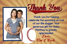 Baby Shower Thank you Card  Baseball Theme by JadaBeeCREATIONS, $6.00