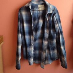 Aeropostale Oversized Flannel Oversized blue and white flannel in size small Aeropostale Tops