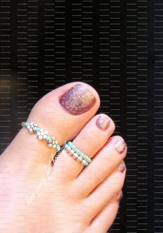 Toe Ring Combo Silver Violets Turquoise by FancyFeetBoutique. Beads on elastic string. Great gift for bellydancers.