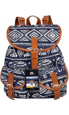 b82b59c0f01d Vbiger Canvas Backpack for Women   Girls Boys Casual Book Bag Sports  Daypack (Elephant Blue)