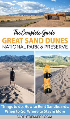 Great Sand Dunes National Park and Preserve: the Complete Guide. Best things to do, when to go, how to rent sandboards, where to stay, and tips to have the best experience. #greatsanddunes #nationalpark #gsdnp Hawaii Travel, Travel Usa, National Parks Usa, Natural Park, The Dunes, Where To Go, Preserve, Vacation Spots, Traveling By Yourself
