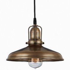 The Spoked Adams Copper & Brass Cord-Hung Ceiling Light  Barn light originals