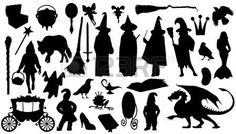 Illustration of fairytale silhouettes on the white background vector art, clipart and stock vectors. Spray Paint Stencils, Shadow Theatre, Doodle Paint, Fairy Silhouette, Manualidades Halloween, Shadow Play, Shadow Puppets, Halloween Signs, Animal Sculptures