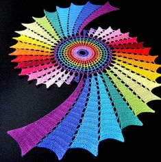 rainbow crochet | cant tell if its triples or doubles, but I...