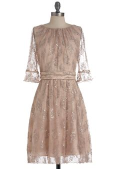 Cause and Confection Dress by Eva Franco - Mid-length, Pink, Floral, Lace, Party, A-line, 3/4 Sleeve