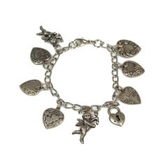 Hearts And Cupids Charm Bracelet by TheFashionDen on Etsy