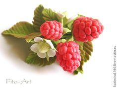 Купить Брошь с малиной - малина, Малинка, ягода, ягода малина, брошь с малиной, брошка с малиной