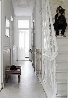 a stunning family home in amsterdam by the style files, staircase WHITE STAIRS Hallway Inspiration, Interior Inspiration, White Stairs, White Hallway, Victorian Townhouse, Painted Stairs, Scandinavian Interior Design, Scandinavian House, Hallway Decorating