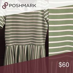 Amelia Lularoe XL dress with pockets! Green and white striped Lularoe Amelia dress with pockets! NWOT. (Washed once per instructions). Perfect condition. Willing to trade for Medium Amelia's! LuLaRoe Dresses