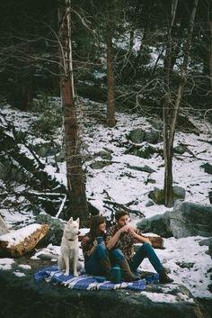 #white #dog #winter