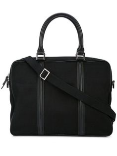 Black organic cotton Haneda slim computer bag from WANT Les Essentiels featuring round top handles, a detachable and adjustable shoulder strap, a top zip closure, an open front pocket and a front logo patch. Macbook Air, Computer Bags, Slim, Gym Bag, Shoulder Strap, Organic Cotton, Women Wear, The Unit, Black