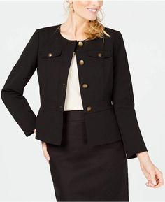 Kasper Womens Black Peplum Business Collarless Blazer Jacket 10 BHFO 0725 for sale online Peplum Blazer, Black Peplum, Black Ruffle, Blazer Jackets For Women, Plus Size Maxi Dresses, Blazer Buttons, Jeans Dress, Black Blazers, 1950s Fashion