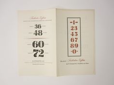 Festliche Ziffern (Festive Numerals), designed by Hermann Zapf in 1950 for D. Stempel AG in Frankfurt. Outside of brochure.   by Herb Lubalin Study Center