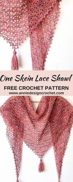 Crochet Lace Scarf, One Skein Crochet, Crochet Triangle Scarf, Crochet Scarves, Crochet Stitches, Crochet Scarf Diagram, Crochet Shawl Free, Crocheted Lace, Lace Knitting