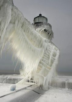 Frozen lighthouse, in the Michigan city of South Haven