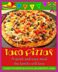 Homemade Taco Pizza based on the Taco Pizza from Cici's Pizza.  A quick and easy meal the family will love. #recipe