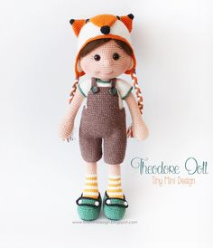 Crochet Toys For Boys Ravelry: Fox Hat Theodore Doll pattern by Tiny Mini Design - Knitted Dolls, Felt Dolls, Crochet Dolls, Doll Toys, Baby Dolls, Unique Crochet, Cute Crochet, Crochet Crafts, Handmade Dolls Patterns