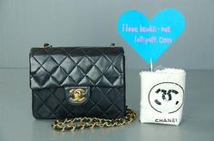 Chanel mini shoulder bag. Classic, quilted, black, lambskin and absolutely deliciously priced!