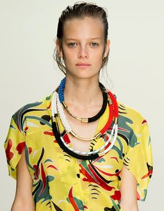 Trendy #Jewelry style for SS 2015:Layered Collar #necklace. Marni Spring Summer 2015. #Spring2015 #SS15