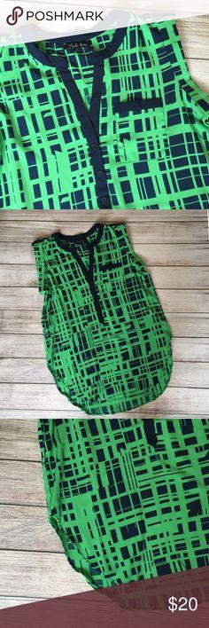 """Green & Blue Blouse NWT. Rounded hemline. Pocket at bust. 100% polyester. 27""""L shoulder to hem - back hemline is slightly longer. 🚫NO TRADES/NO MODELING🚫 Tops Blouses"""