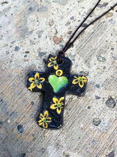 16.99 + free shipping - Painted Cross Yellow Daisies Heart Crosses by GospelHymns on Etsy