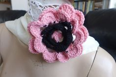 hand crocheted flower brooch pin for scarfs bags hair band or clothing PINK WOOL #Handmadebyme