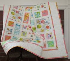 New FLIGHT PATTERNS Handmade Baby Girl Quilt by ArtistryWithFabric