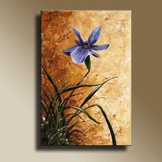 Canvas Print of Original acrylic painting Blue Iris Wall hanging Decorative Art