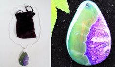 PURPLE & GREEN AGATE Sterling Silver Necklace, 22'' (SMD7031) (Agate Geode Druzy #Handmade #Chain