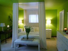 15 Dreamy Canopy Beds : Rooms : Home & Garden Television The green may need to be toned down just a bit but I love the bed.