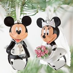 Bride & Groom Disney Mickey & Minnie Mouse Wedding Christmas Ornament Set