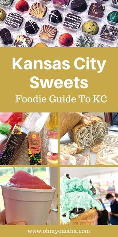 If you have a sweet tooth and require ice cream, chocolate, or pastries on vacation, here's your guide to sweet foodie experiences in Kansas City and the surrounding towns. Find out where to get unique ice cream flavors, traditional eastern European breads, and the most exquisite candies. This includes Kansas City, Kansas, and Kansas City, Missouri. Travel Ideas, Travel Tips, Summer Vacations, Best Ice Cream, Best Candy, Ice Cream Flavors, Free Activities, Adventure Awaits, Usa Travel